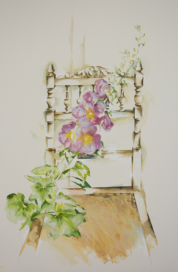Hollyhocks With Chair